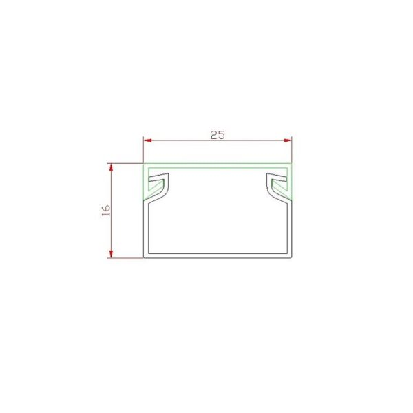 25x16 cable raceway technical drawing